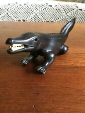 Vintage African Wooden Ebony Carved Crocodile Figurine