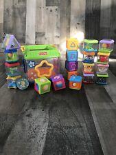 Lot of 21 Fisher Price Peek A Boo Blocks Musical Shape Sorter Roll Around Baby