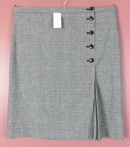 SK16822- NWT BANANA REPUBLIC Women's 31% Wool Pencil Skirt Front Pleats Plaid 12