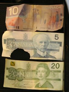 canadian paper money lot. $20.00 AND $5.00 1991 $10.00 1986