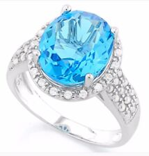 DIAMOND & SWISS TOPAZ HALO RING SILVER WHITE GOLD LOOK 9 CWT GENUINE STONES