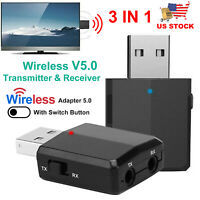 3 IN 1 USB Wireless 5.0 Audio Transmitter & Receiver Adapter 3.5mm for TV PC Car