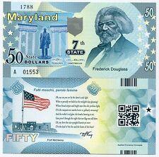 United States Maryland 50 State Dollars 2014 Polymer Douglass Fantasy Banknote