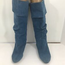 Wanted Genuine Leather Suede Teal Slouch Zip Up Boots Size 7.5