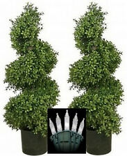 """2 Artificial 36"""" Outdoor Boxwood wide Spiral Topiary Tree Christmas Lights 3ft"""