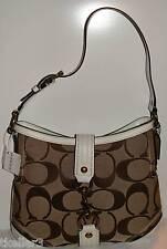 COACH Signature White Leather Clip Perf Hobo 11368 $372