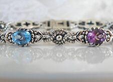 Solid Sterling Silver and 18K Gold Blue Topaz Amethyst Jeanex Chunky Bracelet