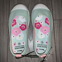 Girls Kids Canvas Casual Slip On Shoes, Size 12, Pastel Mint Green