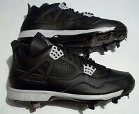 New Nike Air Jordan 4 Retro Black Grey Men's Baseball Metal Cleats 807710-010