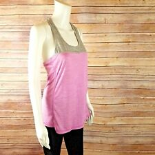 Reebok Tank Top Womens Sz M Athletic Fitness Work Out Gym Pink Gray Reflective