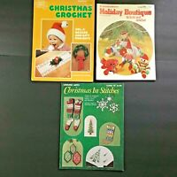 Lot 3 Christmas Knit & Crochet Pattern Books Vtg Holiday Boutique Stocking Gifts