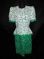 Vintage 80s Maggy London 4 S White Green Print Dress Peplum Wiggle Short Sleeve