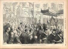 Millénaire Sainte Tunique du Christ Procession Religieuse Chartres GRAVURE 1876