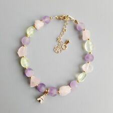 Lii Ji Amethyst Prehnite Rose quartz Iron Tower Charm Bracelet Delicate Jewelry