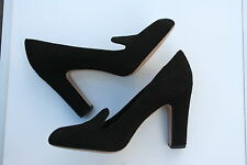 NEW VIA SPIGA BLACK SUEDE LEATHER SHOES CHUNKY HEELS LEFT 9(40) RIGHT 9.5(40.5)