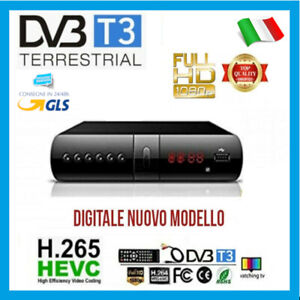 DECODER RICEVITORE DIGITALE TERRESTRE DVB-T2 T3 TV SCART HDMI 1080P  H.265