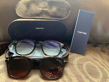 New TOM FORD Eyeglasses TF 5532-B 52E 49-21 Tortoise Frame w/ Brown Clip On Lens