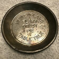 """9."""" VINTAGE NEW ENGLAND TABLE TALK FLAKY CRUST PIE TIN WITH 10 CENT DEPOSIT"""