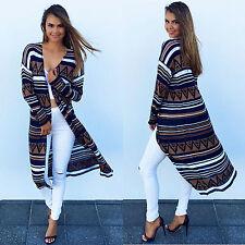 Women's Floral Casual Coat Loose Blouse Kimono Long Jacket Cardigan Outwear Cape