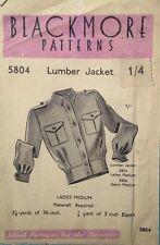 Vintage 40's BLACKMORE 5804 WW2 LADIES LUMBER/BOMBER JACKET Sewing Pattern