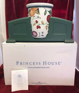 Princess House Fruit of the Vine Wood Caddy with Utensil Holder #1423 - NEW /HTF