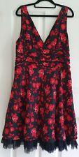 Ladies size 16 Black and Red Silk dress - Portmans