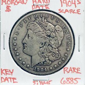 1904 S MORGAN SILVER DOLLAR HARD DATE U.S. MINT RARE KEY COIN 6885