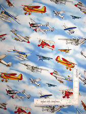 Aviator Airplane Plane Aircraft Fly Sky Clouds Cotton Fabric QT #24753 - Yard