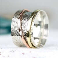 Solid 925 Sterling Silver Spinner Ring Meditation Ring Statement Ring Size SR698