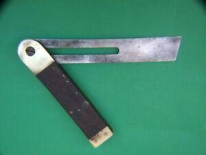 Antique Pocket Try Square Mahogany  & Brass Carpenters Tools Vintage VGC