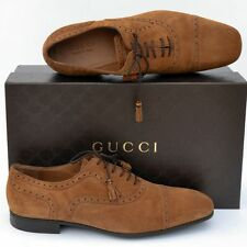 GUCCI New sz UK 10 - US 11 Authentic Designer Oxfords Mens Bamboo Shoes brown