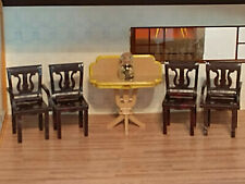 VINTAGE PLASCO MINIATURE 1:16 DOLLHOUSE DINING ROOM HOST GUEST CHAIRS SIDE TABLE