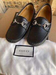 NIB Gucci Kids Black Leather Horsebit Loafers Moccasins size 28US 11