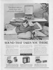 1960 Columbia Phonographs Print Ad cute couple three models