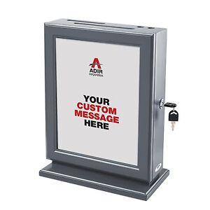 Adir Grey Wood Suggestion Donation Box Customizable W Refill Cards