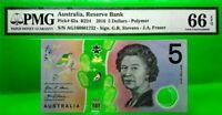 AUSTRALIA 5 DOLLARS 2016 RESERVE BANK POLYMER GEM UNC PICK 62 a VALUE $66