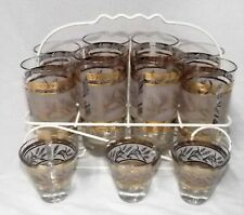 Set of 8 Vintage 10 oz Drinking Glasses with 3 shot glasses & caddie