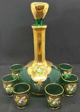 Vintage Emerald Green & Gold Hand Painted Venetian Glass Decanter & 6 Glasses