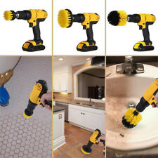 3pcs Rotary Drill Brush Attachment: Carpet, Boat Hulls, Grout, Shower Yellow