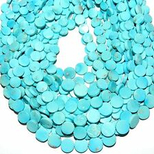 TL462 5-Strands SLEEPING BEAUTY Blue Turquoise Graduated Round Coin 4-8mm Beads