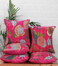 5 Pcs Set Floral Kantha Pillow Handmade Indian Cotton Cushion Cover Ethnic Decor