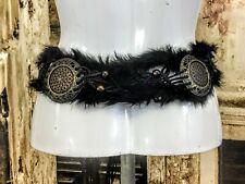 Vintage effect tie faux fur belt fashion belt warrior viking style M/L R15662BLK
