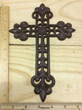 CROSS Wall Hanging Decor Rustic cast iron 9-3/4x6-1/2 vintage antique style 40