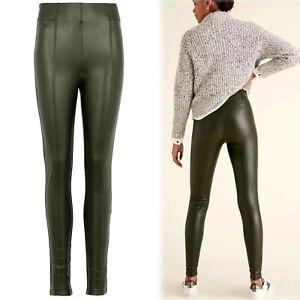 M&S Faux LEATHER High Waist SKINNY leg LEGGINGS ~ Size 16 Long ~ KHAKI