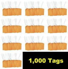 """1000 pcs of 4 3/4"""" x 2 3/8"""" Size 5 Orange Cardstock Hang Tag Tags with Wire 13Pt"""