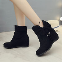 Women Casual Round Toe Hidden Heels Bowknot Ankle Boots Fall Winter Shoes Size