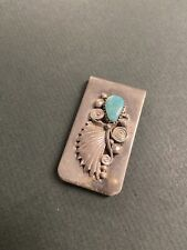 "Vintage Money Clip With Sterling Silver & Turquoise Stone 1 3/4""x1"""