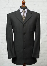NEXT 4 Button Charcoal Grey Single Breasted Striped Suit Jacket 40R