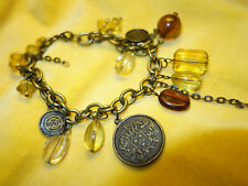 New Bronze metal , amber and brown glass coin charm bracelet