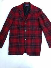 Mens Pendleton Red Tartan Plaid Wool 3 Silver Button Sports Coat Blazer Sz 40